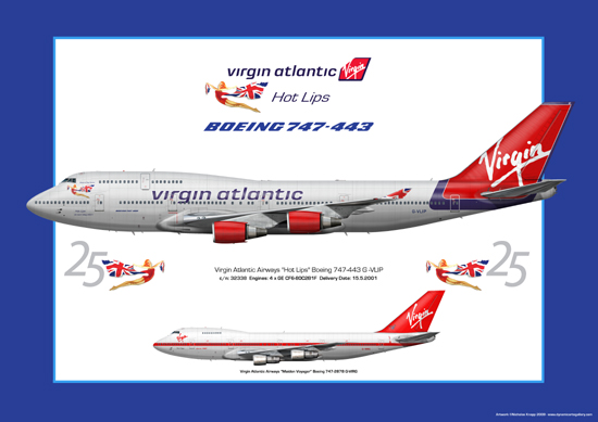 Virgin Atlantic Airways Boeing B747-400 Jumbo Jet Illustration Print